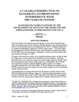 A Canadian Perspective on the Dangerous Anthropogenic Interference with the Climate System - Final Report