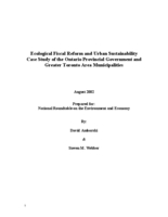 Ecological Fiscal Reform and Urban Sustainability Case Study of the Ontario Provincial Government and Greater Toronto Area