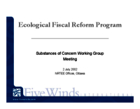 Ecological Fiscal Reform Program: Substances of Concern Working Group - meeting