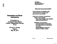 Economics and Fiscal Instruments - Presentation to Ecological Fiscal Reform Cleaner Transportation Working Group