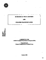 Ecological Fiscal Reform and Cleaner Transportation - Working Group  Final Report