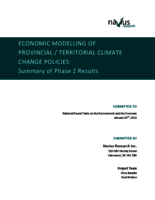 Economic Modelling of Provincial/Territorial Climate Change Policies: Summary of Phase 2 Results