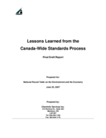 Lessons Learned from the Canada-Wide Standards Process - Final Draft Report