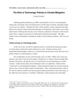 The Role of Technology Policies in Climate Mitigation