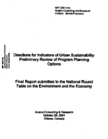 Directions for Indicators of Urban Sustainability: Preliminary Review of Program Planning Options - Final Report