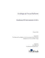 Ecological Fiscal Reform - Finalising EFR Instruments & SOCs