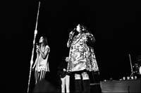 Michelle Phillips (left) and Cass Elliot (right) in performance with The Mamas and the Papas at Maple Leaf Gardens