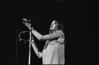 Michelle Phillips in performance with The Mamas and the Papas at Maple Leaf Gardens