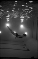 Student Joan Featherstonehaugh swimming in York University 's pool.