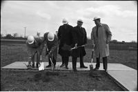 Four men at the sod turning left to right: Murray Ross, Robert Winters, Leslie Frost and John Proctor.