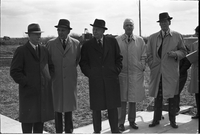 Five men at the sod turning: Leslie Frost (centre), Murray Ross (second from right) and John Proctor (right end).