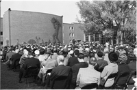 Ontario Premier, John Robarts, addresses a large crowd at the opening of Glendon campus, York University.