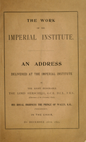 The work of the Imperial Institute : an address delivered at the Imperial Institute