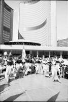 Greek dancers in Nathan Phillips Square, in front of Toronto City Hall