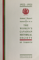 Annual report and transaction no. 23 of the Women's Canadian Historical Society of Toronto
