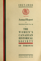 Annual report and transaction no. 26 of the Women's Canadian Historical Society of Toronto