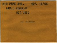 819 Pape Ave. : Armed robbery [not used]