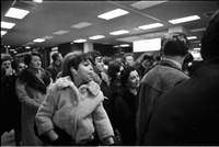 Annabelle Lopes in the crowded arrivals hall, at Toronto International Airport in Malton; waiting for her father.