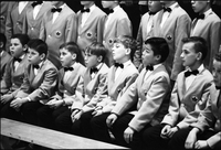 Close up of choir in performance.
