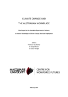 Climate Change and the Australian Workplace: Final Report for the Australian Department of Industry