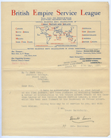 Letter of recommendation from the British Empire Service League - 27 May 1926