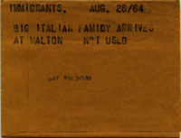 Immigrants : Big Italian family arrives at Malton [not used]