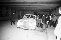 A crowd of fans gathered beside John Lennon and Yoko Ono's Rolls Royce [at the Ontario Science Centre].