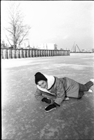 Barbara Lye, on frozen Lake Ontario off the Toronto Islands.