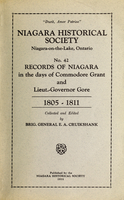 Records of Niagara, 1805-1811