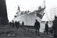 "H.M.C.S. ""Haida"" : being towed in for repairs"