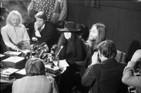 Yoko Ono and John Lennon at a press conference at the Ontario Science Centre.