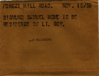 Forest Hill Road : Sigmund Samuel home to be residence of Lt. Gov.