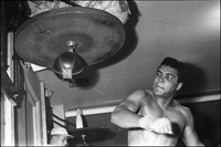 Cassius Clay, in training, for his fight against George Chuvalo, at Earl Sullivan's Toronto Athletic Club.