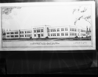 Hamilton, Ont. : Copy of architects drawing of Hamilton teachers college : Also temporary location