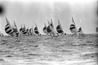 Greek Royal Family : King Constantine Racing Sailboat off Toronto Island : Reed negs [not used]