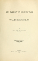Mrs. Jameson on Shakespeare and the Collier emendations