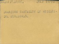 Architecture : Canadian Inventory of Historical Buildings