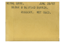 Royal Bank : Bloor & Redford Branch : Robbery [not used]