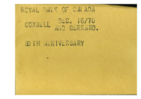 Royal Bank of Canada : Coxwell and Gerard : 50th anniversary
