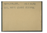 Hamilton, Ont. : Can. Music League festival