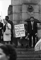 "Protesters at 48th Highlanders Regimental Memorial; one sign says ""Frederika Nazi stooge Constantine CIA stooge"""