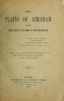 The Plains of Abraham, 1759 : a spot sacred to the memory of Wolfe and Montcalm